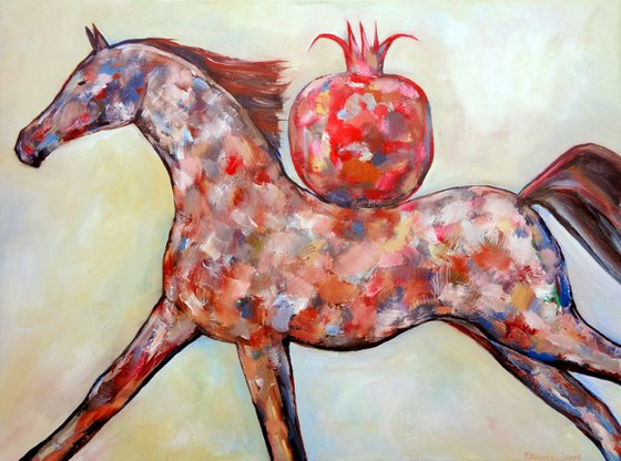 Horse running 30x40', 75x100 cm