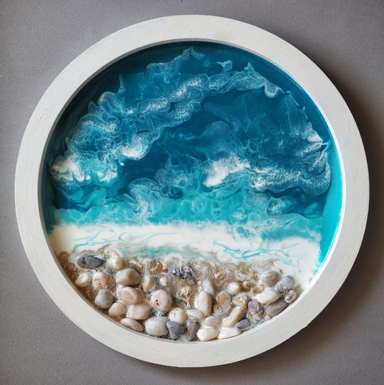 Little private window with seaview - original seascape 3d artwork, framed, ready to hang