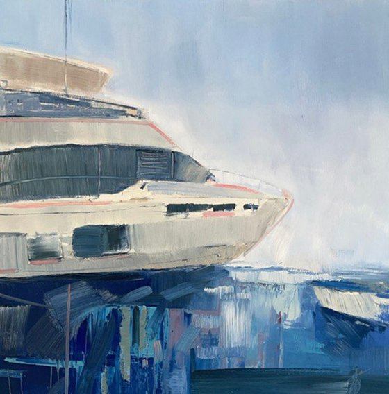 Birthday boat trip oil painting
