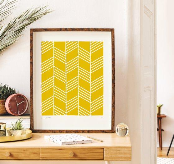 Flight (Yellow Geometric Linocut Print)