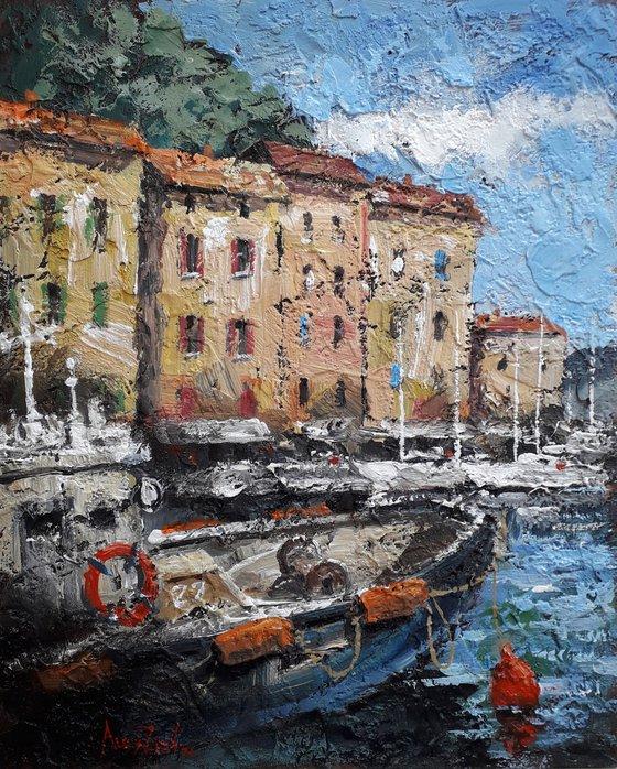 Port city Boats at the pier Italy