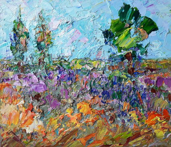 Landscape Painting, Original Art, Italy Painting, Toscana Art, Impressionist Art, Textured, Living Room Wall Art, Small WallArt