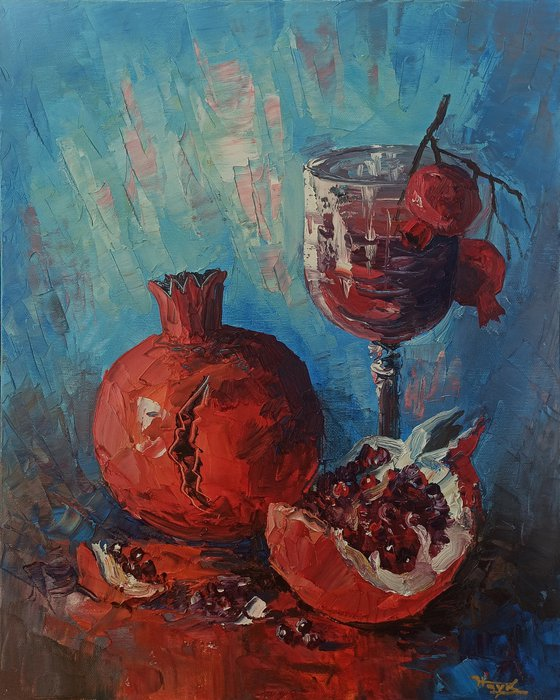 Still life with wine and pomegranate  (40x50cm, oil painting,  ready to hang)