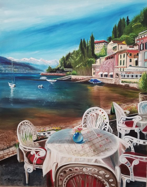 Como Lake, Italy. Summer Day in a Café. Spectacular Oil Painting on Canvas. Gorgeous Italy Landscape. Home Decor.