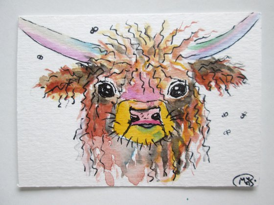 Highland Cow Miniature ACEO original painting