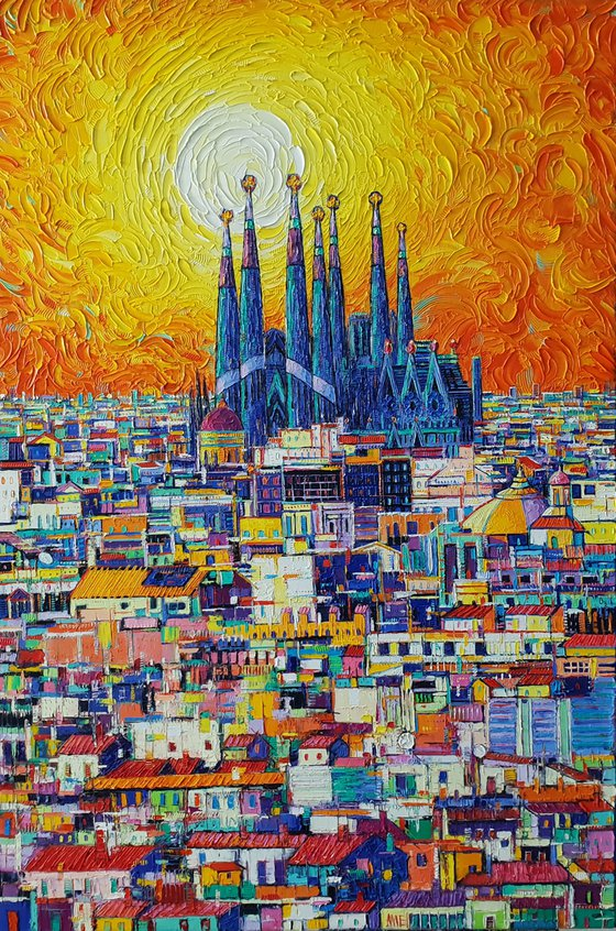 BARCELONA ABSTRACT CITYSCAPE FIERY SUNSET OVER SAGRADA FAMILIA textural impasto palette knife oil painting by Ana Maria Edulescu