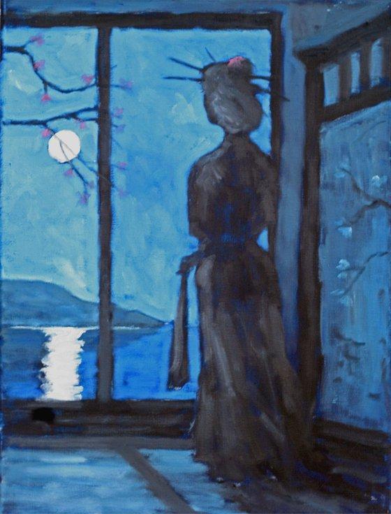 geisha holding closed fan in moonlight