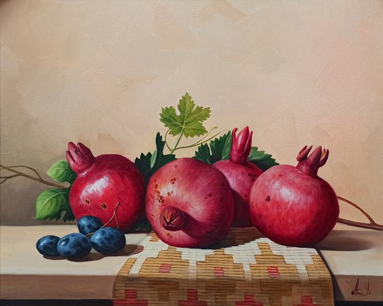 Still life with pomegranate (40x50cm, oil painting, ready to hang)