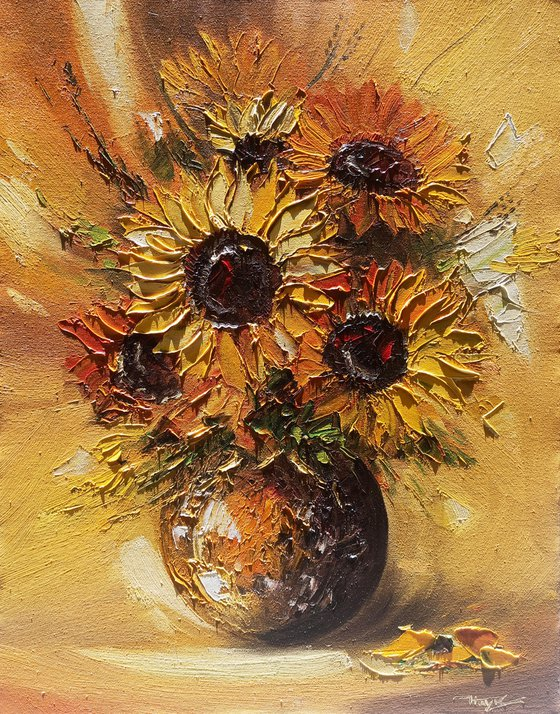Sunflowers in the vase (55x70cm, oil painting,  ready to hang)