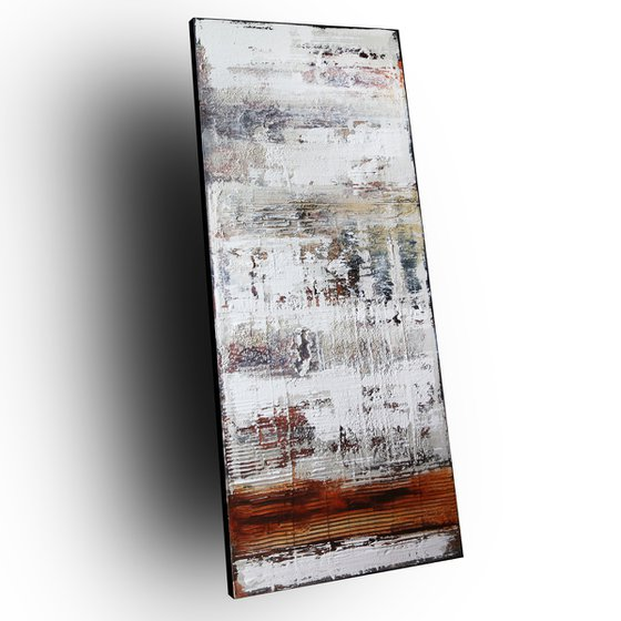 CROSSED LINES - ABSTRACT ACRYLIC PAINTING TEXTURED * PASTEL COLORS * READY TO HANG