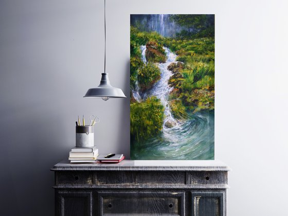 """"""" A Stream of Change """" SPECIAL PRICE!!! framed in white wide frame !!!"""
