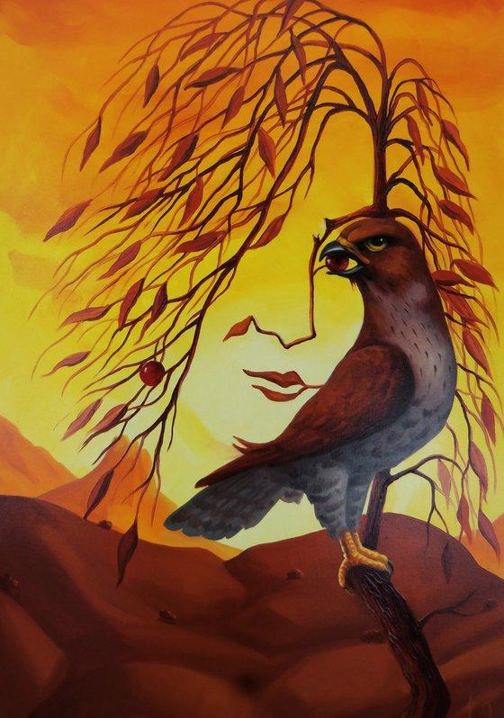 Female portrait with hawk 60x40cm, oil painting, surrealistic artwork