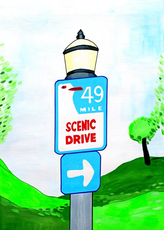 San Francisco Scenic Drive Sign - Painting on Unframed A3 Paper