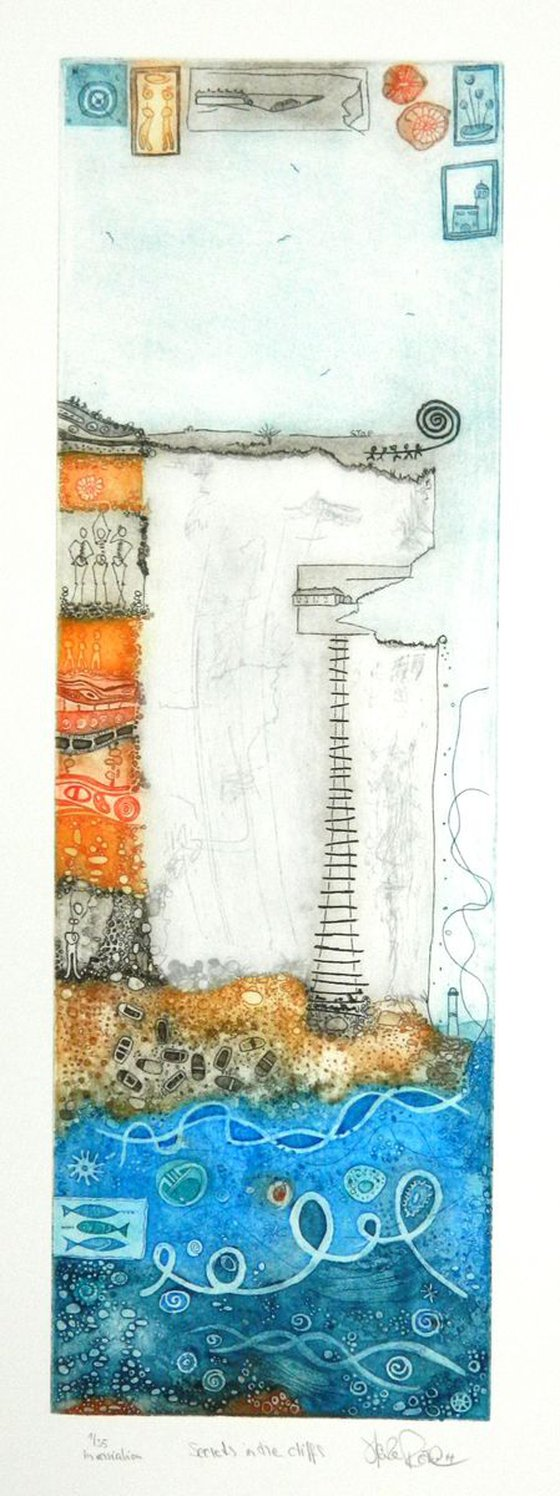 """Heike Roesel """"Secrets in the Cliffs"""", fine art etching in 2 editions, 35 each(multicoloured)"""