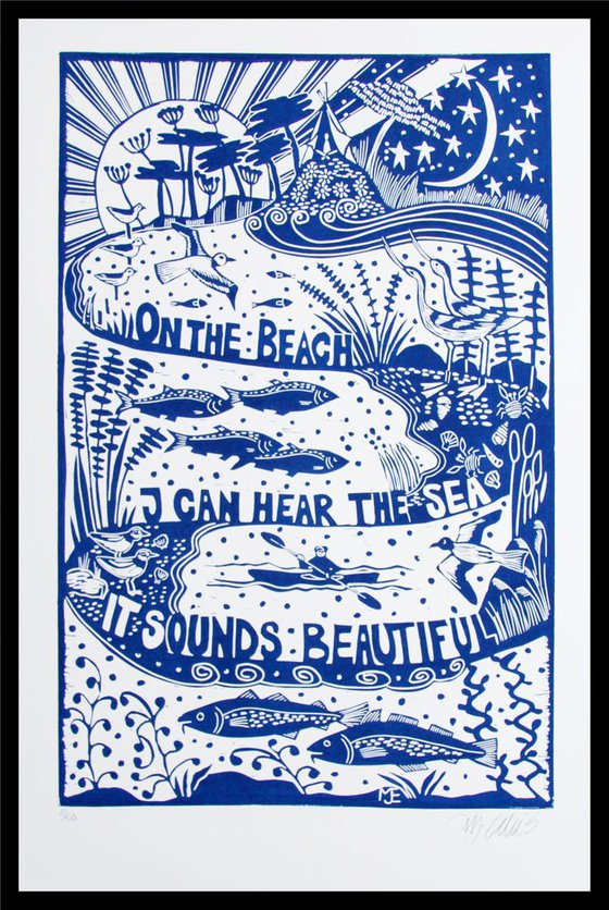 On the Beach, XL blue and white linocut