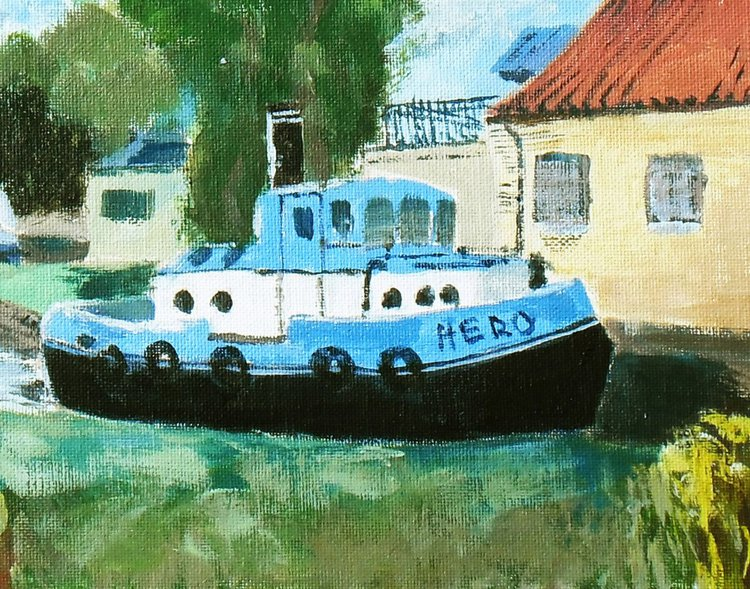 'Hero' of the Broads - An original painting of a Norfolk tug Boat, ready to  assist on the Broads