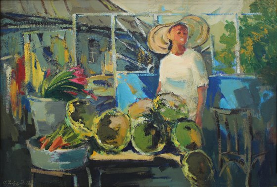 Sunflower seller Painting - One of Kind