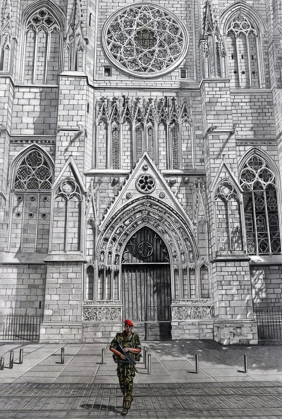Bordeaux Cathedral - Framed Pencil Drawing