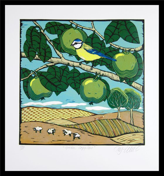 Bluetit and Green Apples, linocut reduction, last print