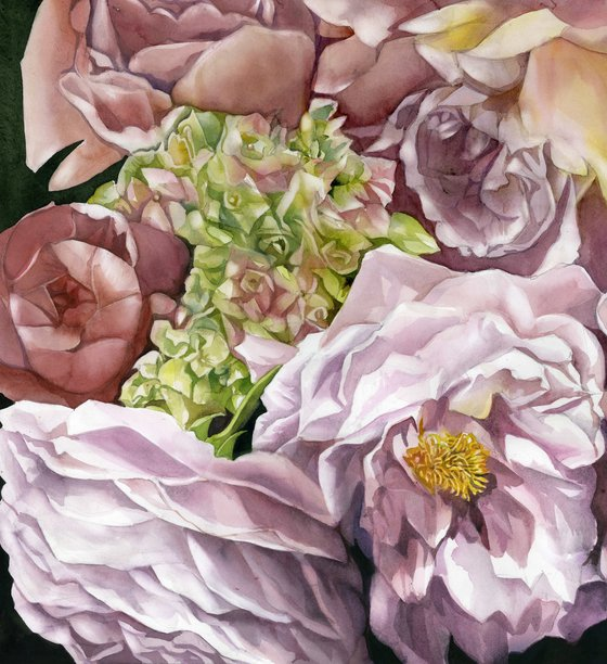 roses with hydrangea watercolor