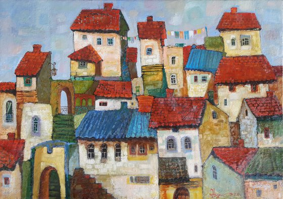 Roofs (50x70cm, oil painting, ready to hang)