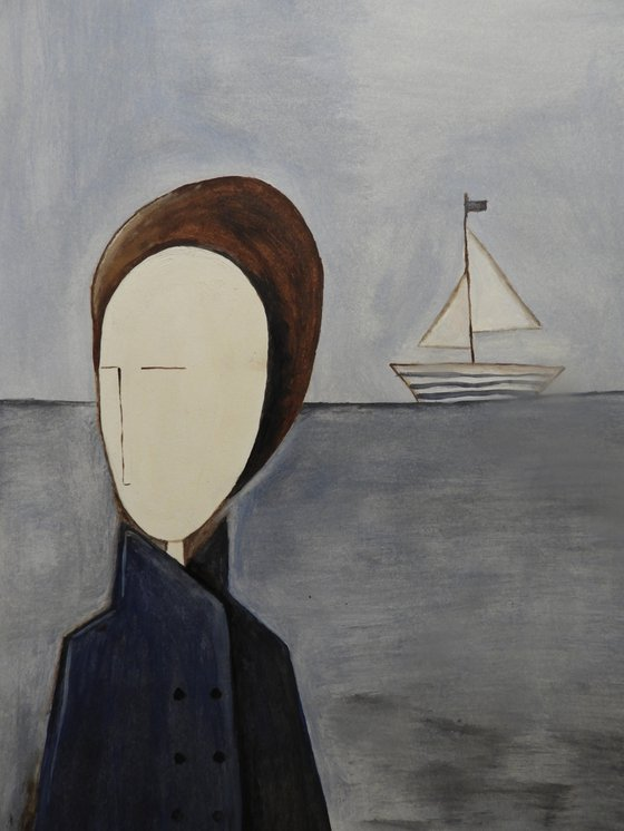 The man and the sea - oil on paper