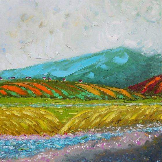 Mtirala mountain - palette knife impasto painting impressionism landscape alla prima original artwork square large