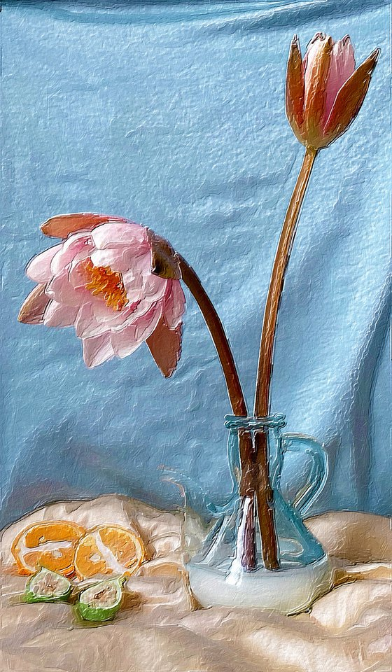 Pink Flower Vase Still Life With Blue Background