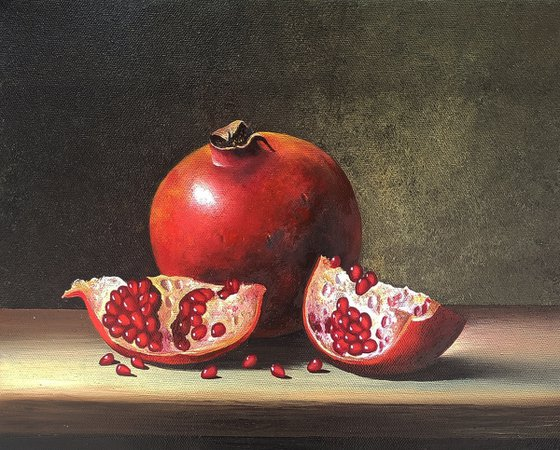 Still life with pomegranate-4 (24x30cm, oil painting, ready to hang)