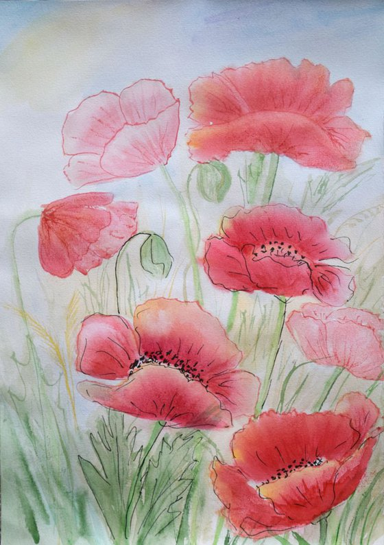 """Watercolour Flower's composition #14""21 х 29.7 (A4 size)"