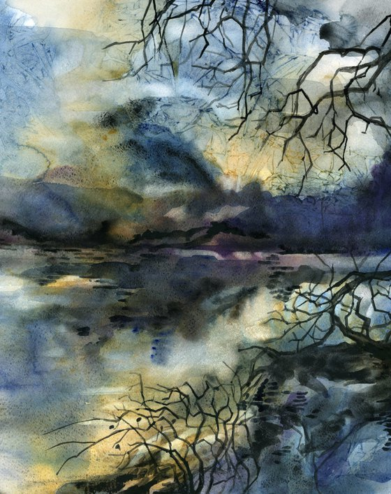 a view of the lake watercolor landscape
