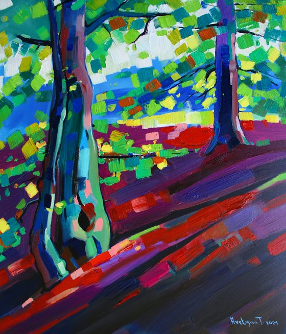 Forest mood (50x55cm, oil painting, ready to hang)