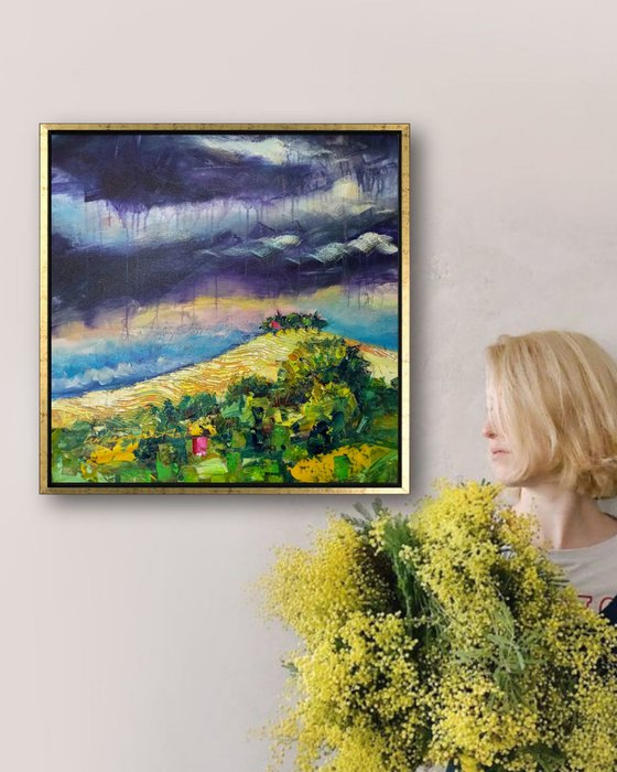 Tuscan Landscape Original Acrylic Painting on Canvas, Impasto Style, Tuscany Hills Art, Tuscany Fields, Impressionist Tuscan Scenery