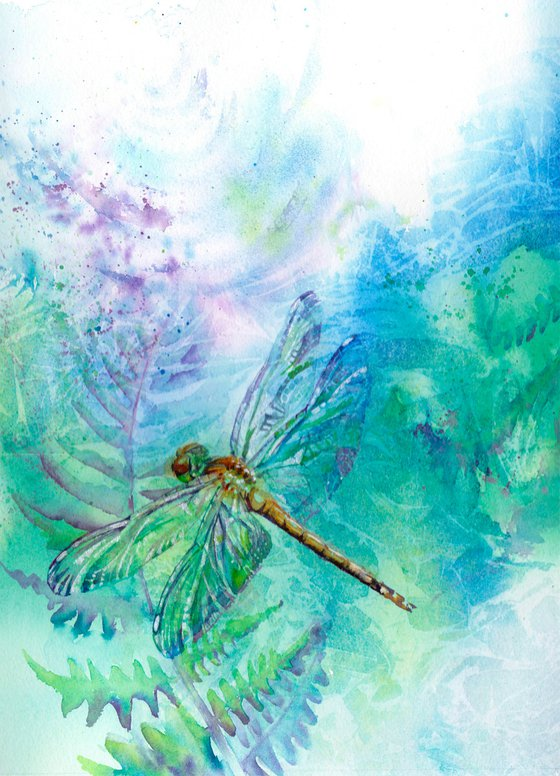 Dragonfly, original watercolour painting