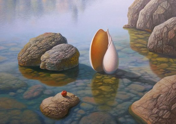 Seashell And Red Apple, 28x40