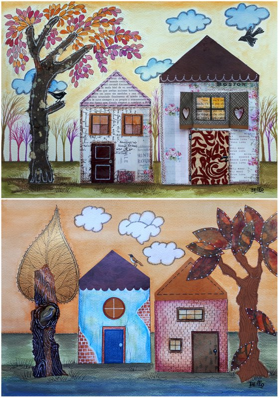 """Pair of illustrations/collage:""""Paper Little Houses"""""""