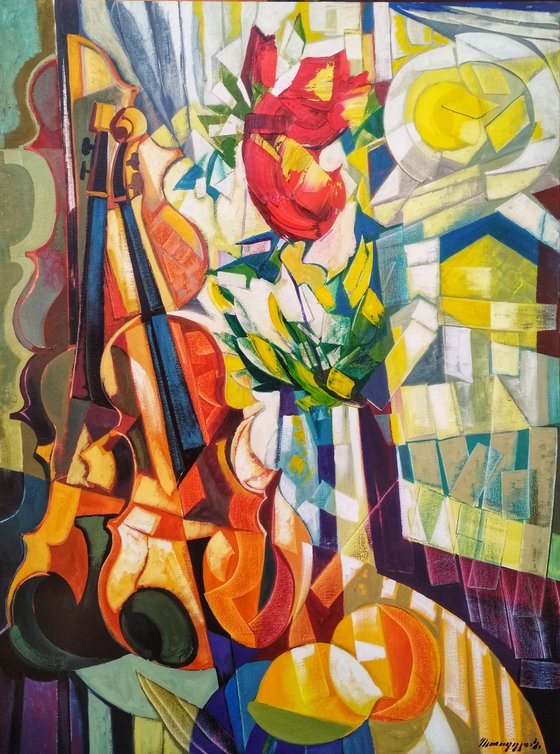 Still life with lemons and violin (60x80cm, cubism, oil painting, ready to hang)