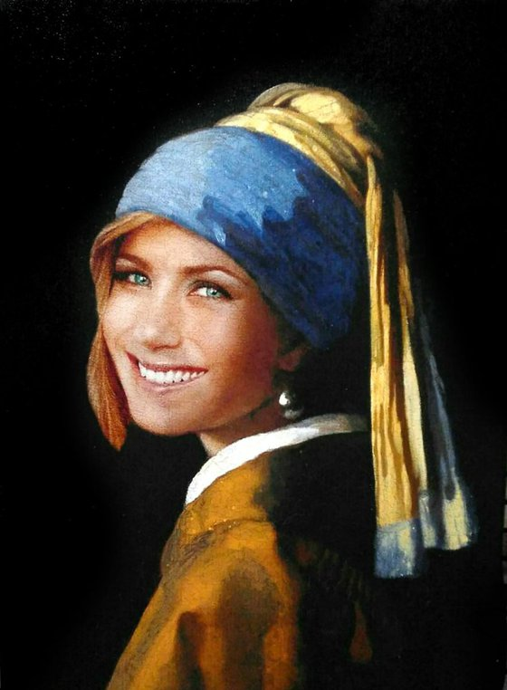 """""""Jennifer Aniston with a pearl earing"""" 40 x 30 cm, Ready to Hang"""