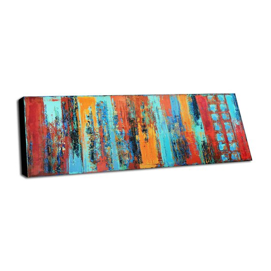 URBAN EXCHANGE - ABSTRACT ACRYLIC PAINTING ON CANVAS * LARGE FORMAT * TURQUOISE * RED