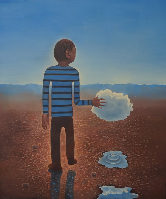Boy conducting a cloud