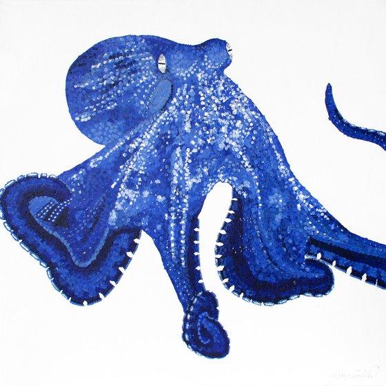 Blue Octopus - pointillism monochrome painting