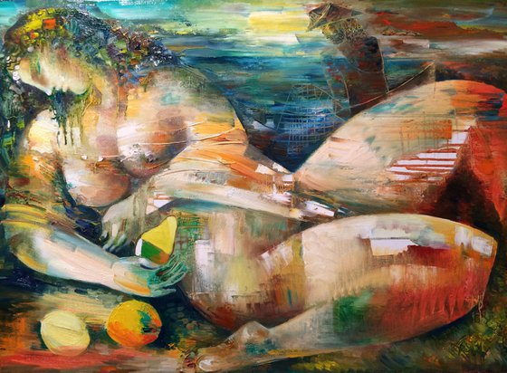 The woman and the fisherman (56x80cm oil/canvas)
