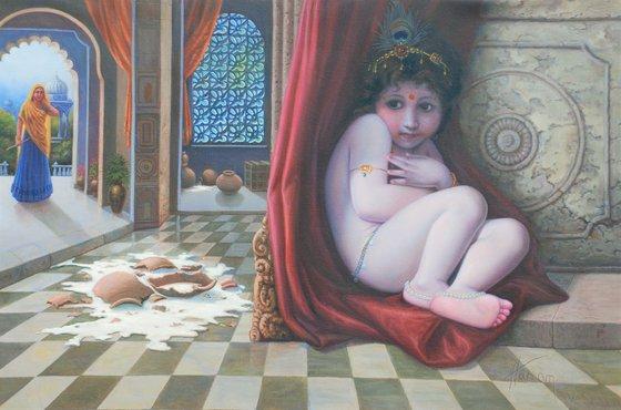 Maakhanchor Kanhaiya | Oil Painting By Hari Om Singh