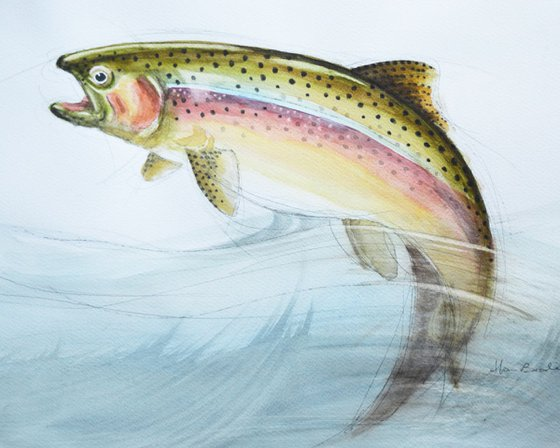 trout leaping