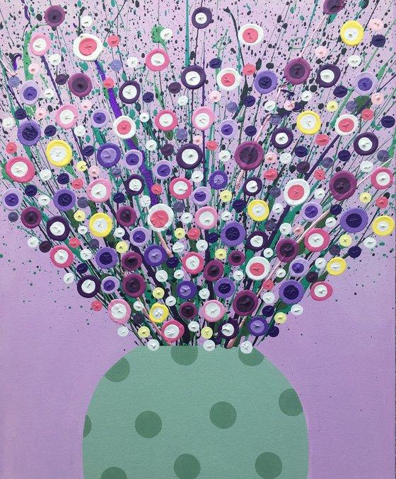 Blooms in Green Spot Vase