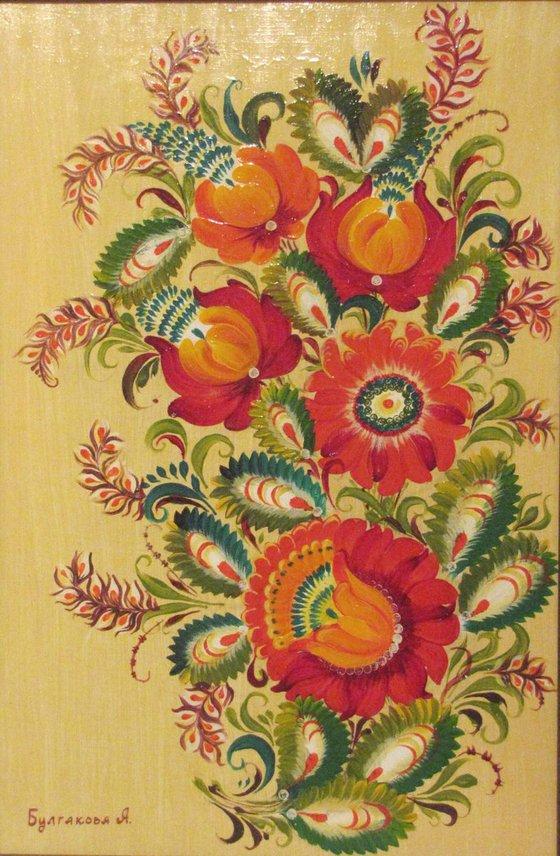 Three flowers Ukrainian national painting