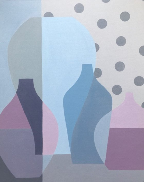Mauve Vases with Grey Spots