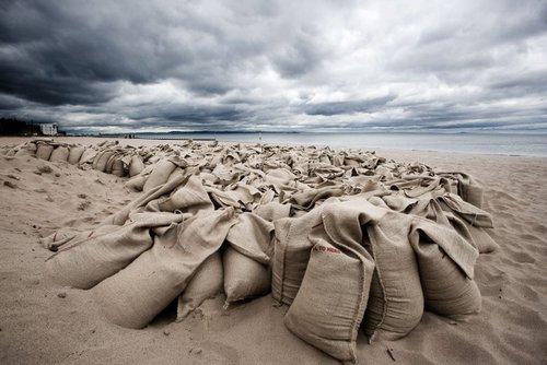 Sandbags on Portobello Beach, Edinburgh