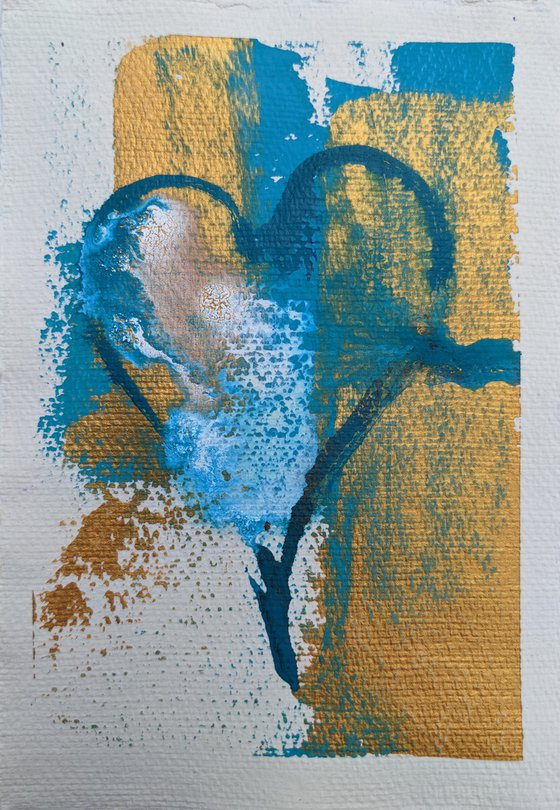 Dream of love, Gold and teal abstract heart painting