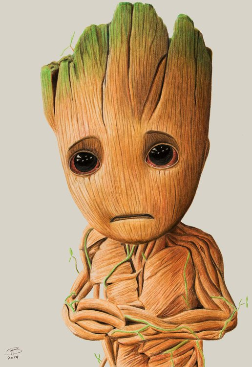 Baby Groot Drawing By Tyrone Bayliss Artfinder